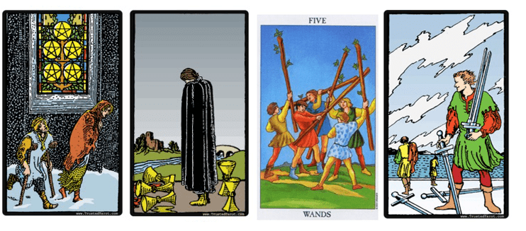 los cuatro cincos del tarot