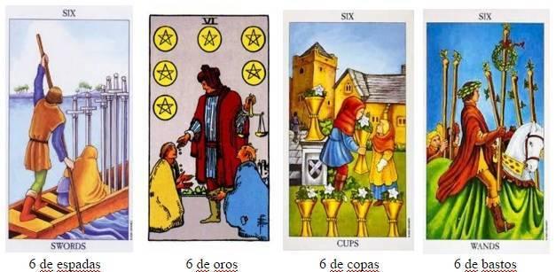 los cuatro seises del tarot